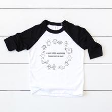 Load image into Gallery viewer, Food Allergy Baseball Tee - Youth